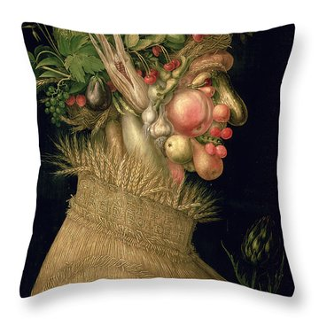 Summer Throw Pillow by Giuseppe Arcimboldo