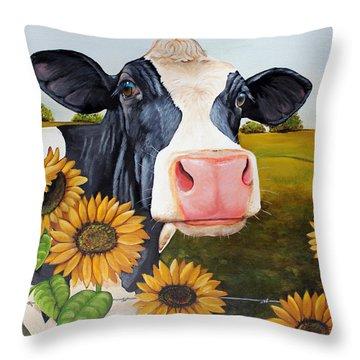 Sunflower Sally Throw Pillow by Laura Carey