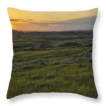 Sunset Over Killdeer Badlands Throw Pillow by Robert Postma