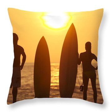 Surfer Silhouettes Throw Pillow by Larry Dale Gordon - Printscapes