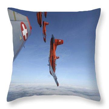 Swiss Air Force Display Team, Pc-7 Throw Pillow by Daniel Karlsson