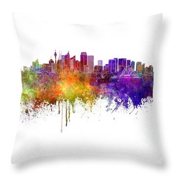 Sydney V2 Skyline In Watercolor Background Throw Pillow by Pablo Romero