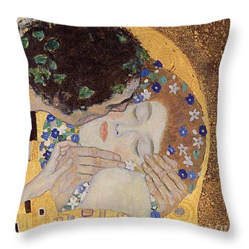 The Kiss Throw Pillow by Gustav Klimt