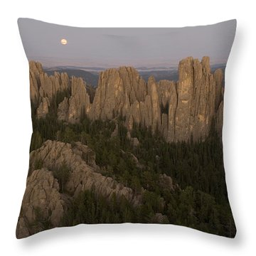 The Needles Protrude From Forests Throw Pillow by Phil Schermeister