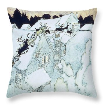 The Night Before Christmas Throw Pillow by Arthur Rackham