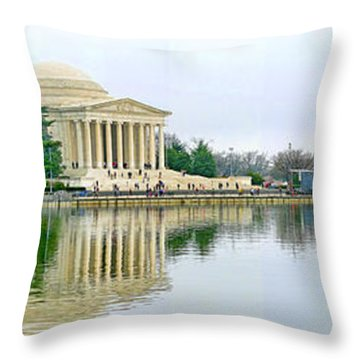 Tidal Basin With Cherry Blossoms Throw Pillow by Jack Schultz