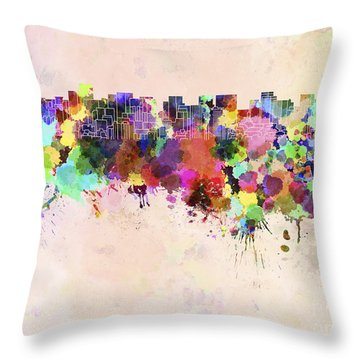 Tokyo Skyline In Watercolor Background Throw Pillow by Pablo Romero
