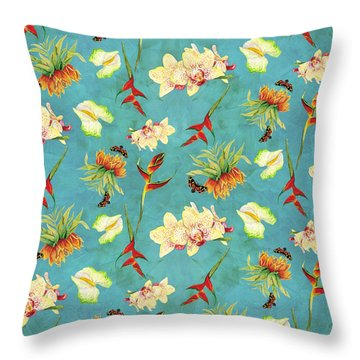 Tropical Island Floral Half Drop Pattern Throw Pillow by Audrey Jeanne Roberts