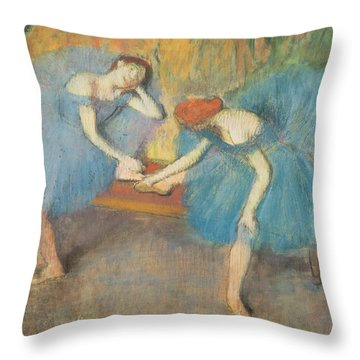 Two Dancers At Rest Throw Pillow by Edgar Degas