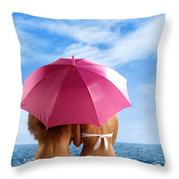 Two Women Relaxing On A Shore Throw Pillow by Oleksiy Maksymenko