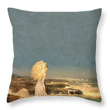 Victorian Lady By The Sea Throw Pillow by Jill Battaglia