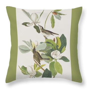 Warbling Flycatcher Throw Pillow by John James Audubon