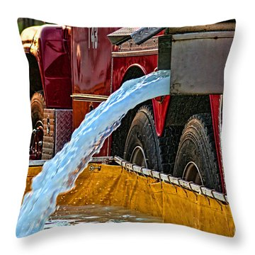 Water Dump Throw Pillow by Tommy Anderson