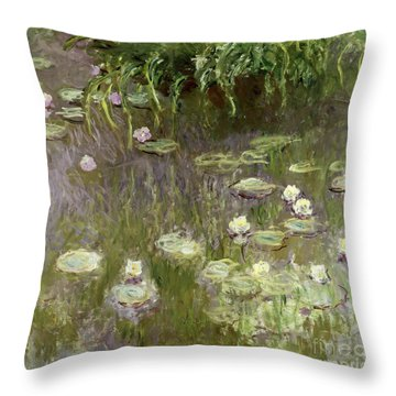 Waterlilies At Midday Throw Pillow by Claude Monet