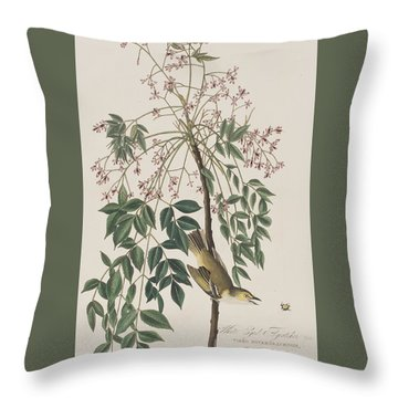 White-eyed Flycatcher Throw Pillow by John James Audubon