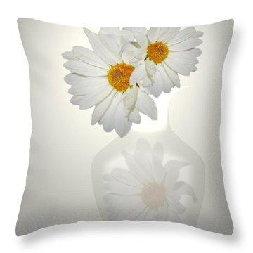 White On White Daisies Throw Pillow by Joyce Dickens