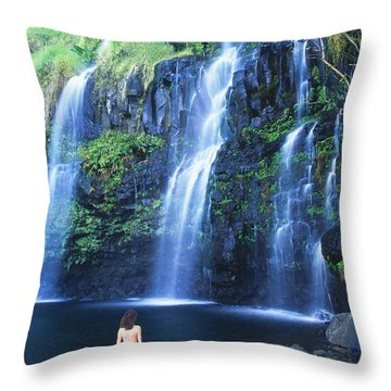 Woman At Waterfall Throw Pillow by Dave Fleetham - Printscapes