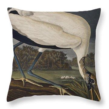 Wood Ibis Throw Pillow by John James Audubon