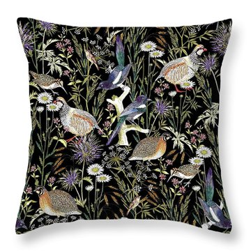Woodland Edge Birds Throw Pillow by Jacqueline Colley