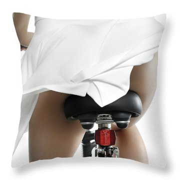 Young Woman On A Bicycle Throw Pillow by Oleksiy Maksymenko