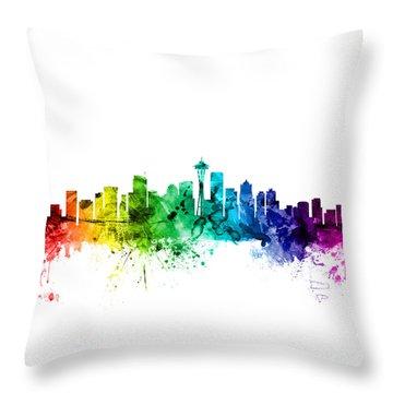 Seattle Washington Skyline Throw Pillow by Michael Tompsett