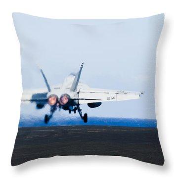 An Fa-18e Super Hornet Launches Throw Pillow by Stocktrek Images