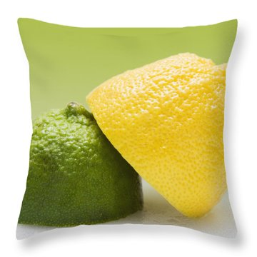 12 Organic Lemon And 12 Lime Throw Pillow by Marlene Ford