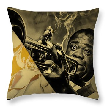 Louis Armstrong Collection Throw Pillow by Marvin Blaine