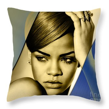 Rihanna Collection Throw Pillow by Marvin Blaine
