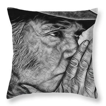 Neil Young Collection Throw Pillow by Marvin Blaine