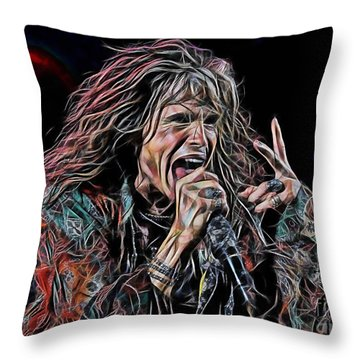 Steven Tyler Collection Throw Pillow by Marvin Blaine