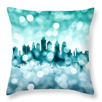 Philadelphia Pennsylvania Skyline Throw Pillow by Michael Tompsett