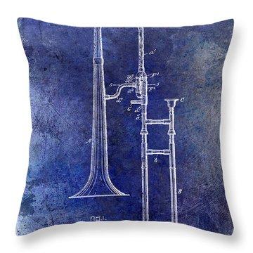 1902 Trombone Patent Blue Throw Pillow by Jon Neidert