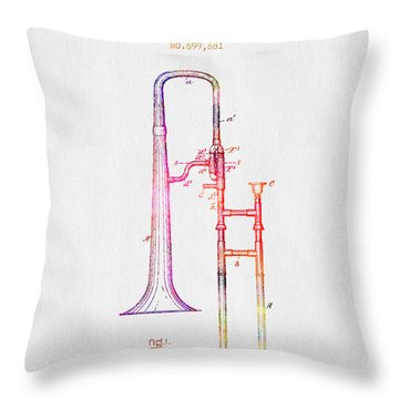 1902 Trombone Patent - Color Throw Pillow by Aged Pixel