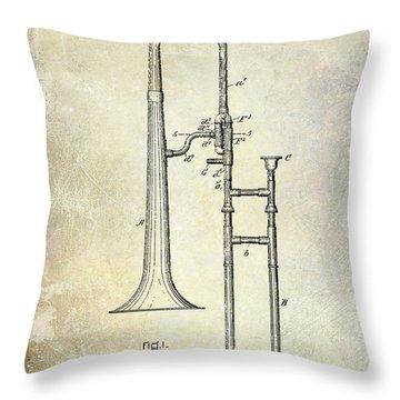 1902 Trombone Patent Throw Pillow by Jon Neidert
