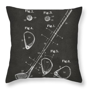 1910 Golf Club Patent Artwork - Gray Throw Pillow by Nikki Marie Smith