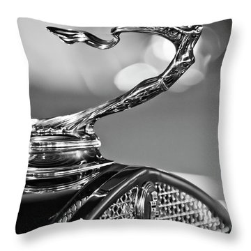 1930 Cadillac Roadster Hood Ornament 2 Throw Pillow by Jill Reger