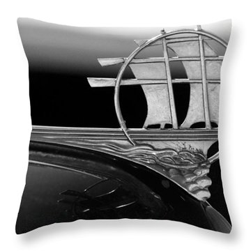 1934 Plymouth Hood Ornament Black And White Throw Pillow by Jill Reger