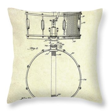 1939 Slingerland Snare Drum Patent S1 Throw Pillow by Gary Bodnar