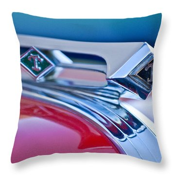 1949 Diamond T Truck Hood Ornament 3 Throw Pillow by Jill Reger