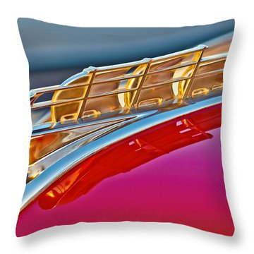 1949 Plymouth Hood Ornament Throw Pillow by Jill Reger