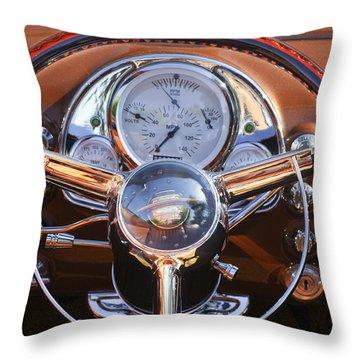 1950 Oldsmobile Rocket 88 Steering Wheel 2 Throw Pillow by Jill Reger