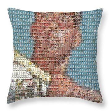 1952 Topps Mickey Mantle Rookie Card Mosaic Throw Pillow by Paul Van Scott