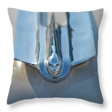 1955 Cadillac Coupe Hood Ornament Throw Pillow by Jill Reger