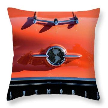 1955 Oldsmobile Rocket 88 Hood Ornament Throw Pillow by Jill Reger