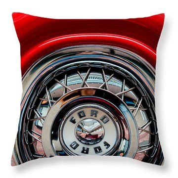 Throw Pillow featuring the photograph 1958 Ford Crown Victoria Wheel by M G Whittingham