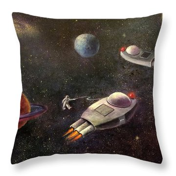 1960s Outer Space Adventure Throw Pillow by Randy Burns aka Wiles Henly