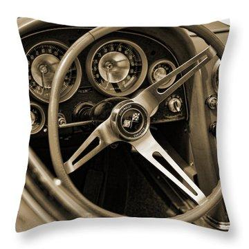 1963 Chevrolet Corvette Steering Wheel - Sepia Throw Pillow by Gordon Dean II