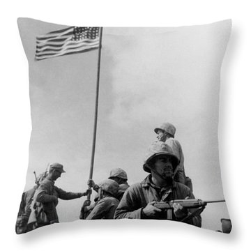 1st Flag Raising On Iwo Jima  Throw Pillow by War Is Hell Store