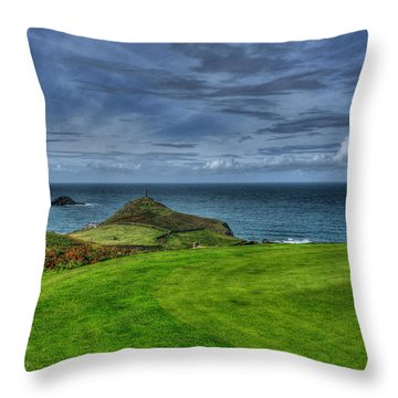 1st Green Cape Cornwall Golf Club Throw Pillow by Chris Thaxter